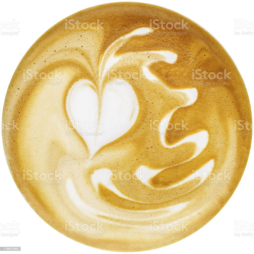 Latte Art, coffee in white background royalty-free stock photo