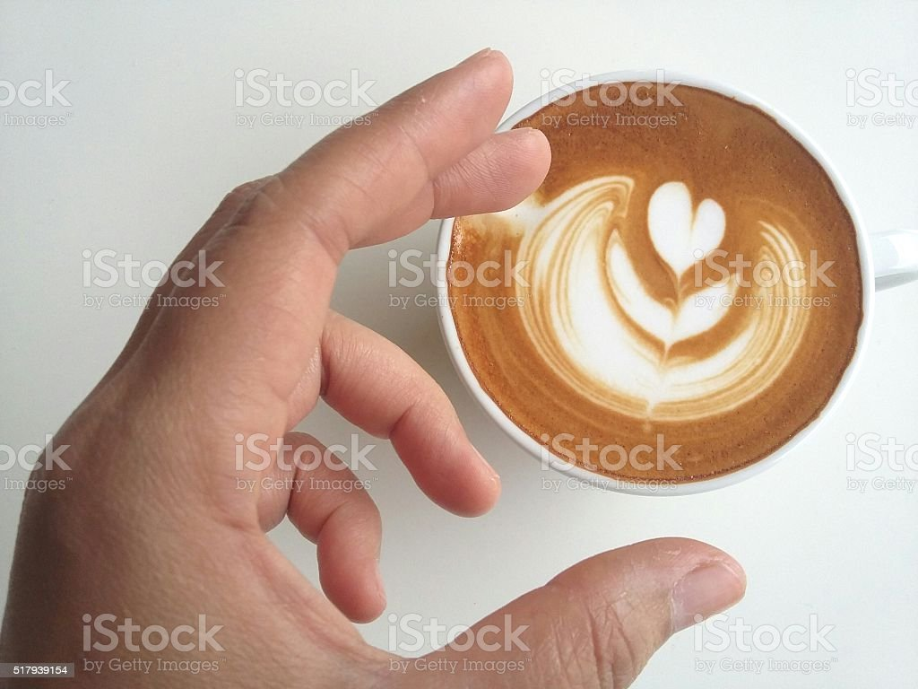 Latte art coffee isolated on white background stock photo