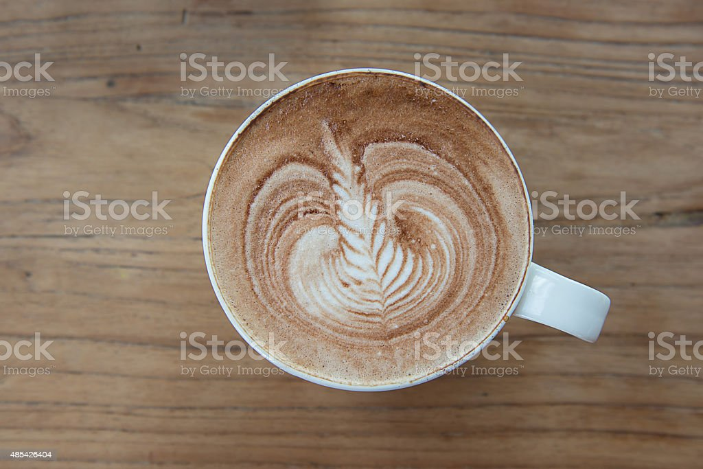 Latte art coffee stock photo