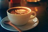 latte art in rose shape