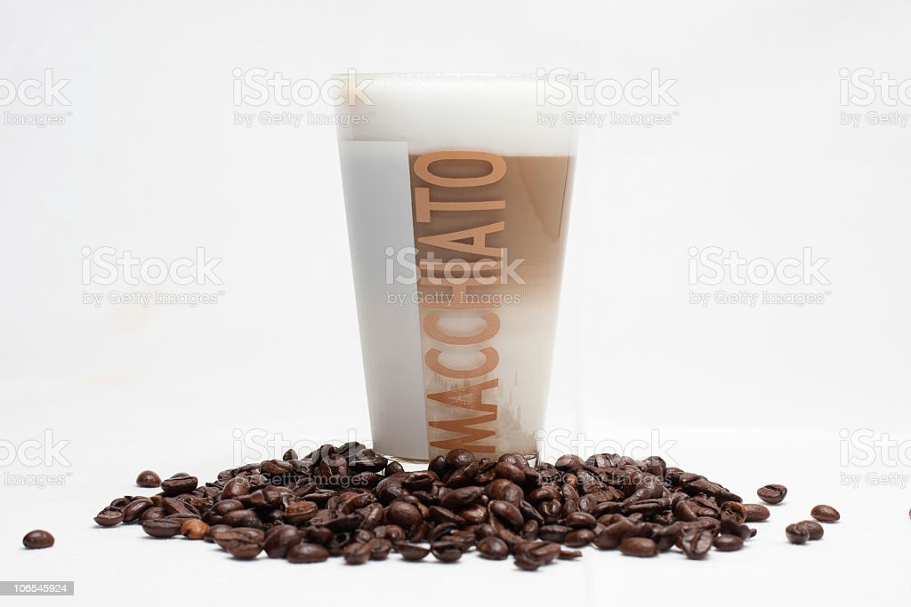 Latte Cappuccino in a tall glass royalty-free stock photo