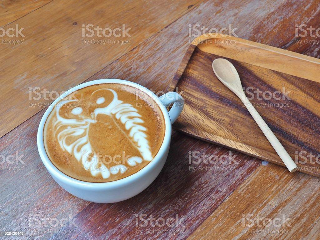 Latte Coffee art 'Owl' stock photo