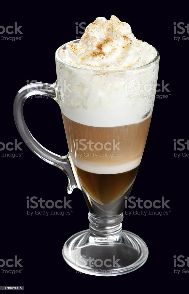 Latte, coffee isolated on black royalty-free stock photo