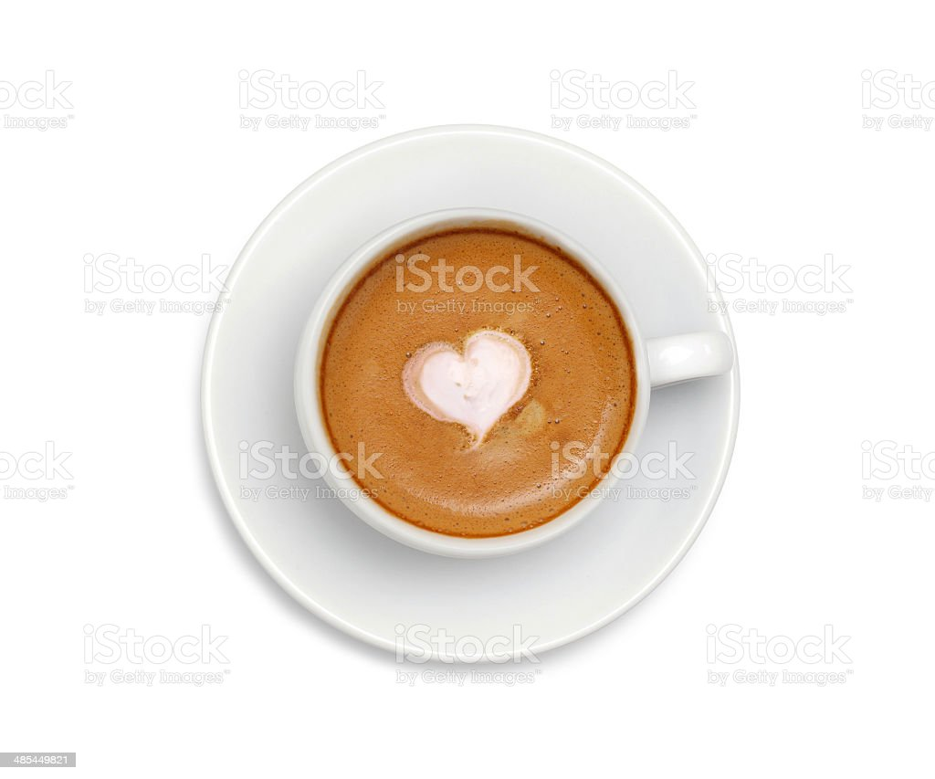 Latte coffee with heart symbol isolated on white background stock photo