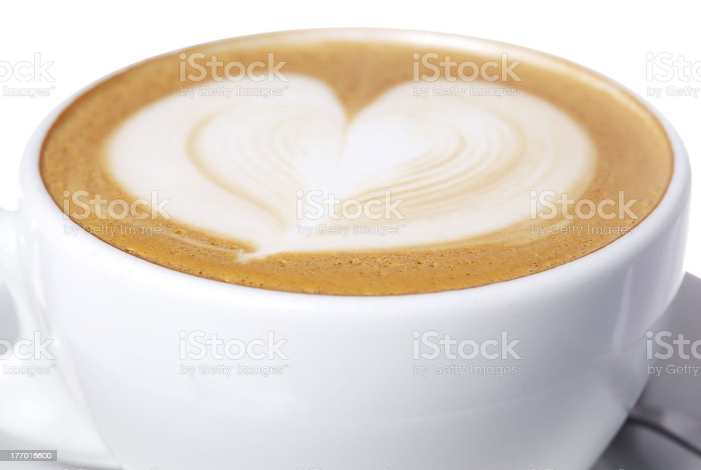 Latte Cup with Heart Design. royalty-free stock photo