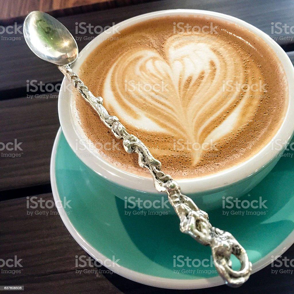 Latte Heart stock photo