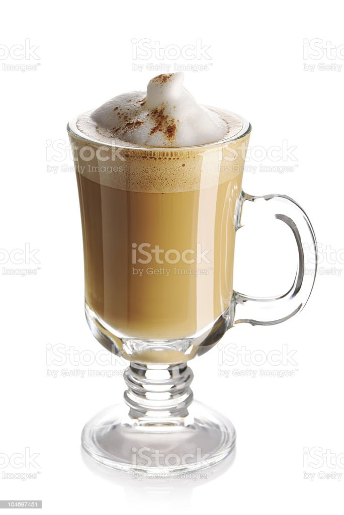 Latte in a glass with a handle and white background royalty-free stock photo