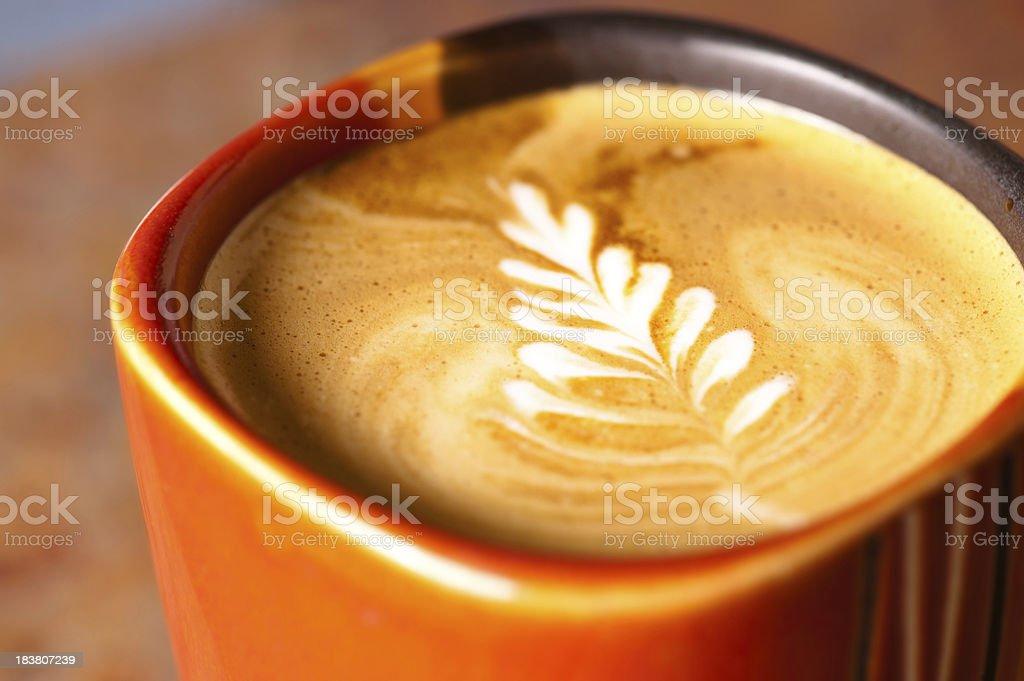 Latte in coffee mug with Rosetta Design royalty-free stock photo