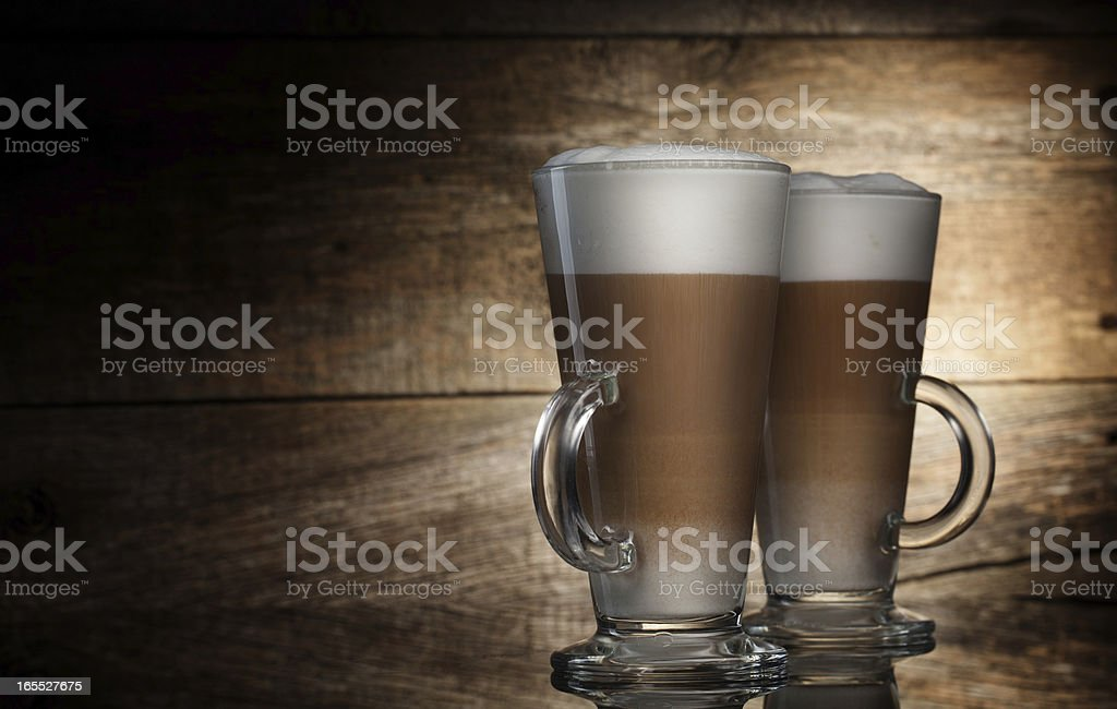 Latte in glass cups royalty-free stock photo