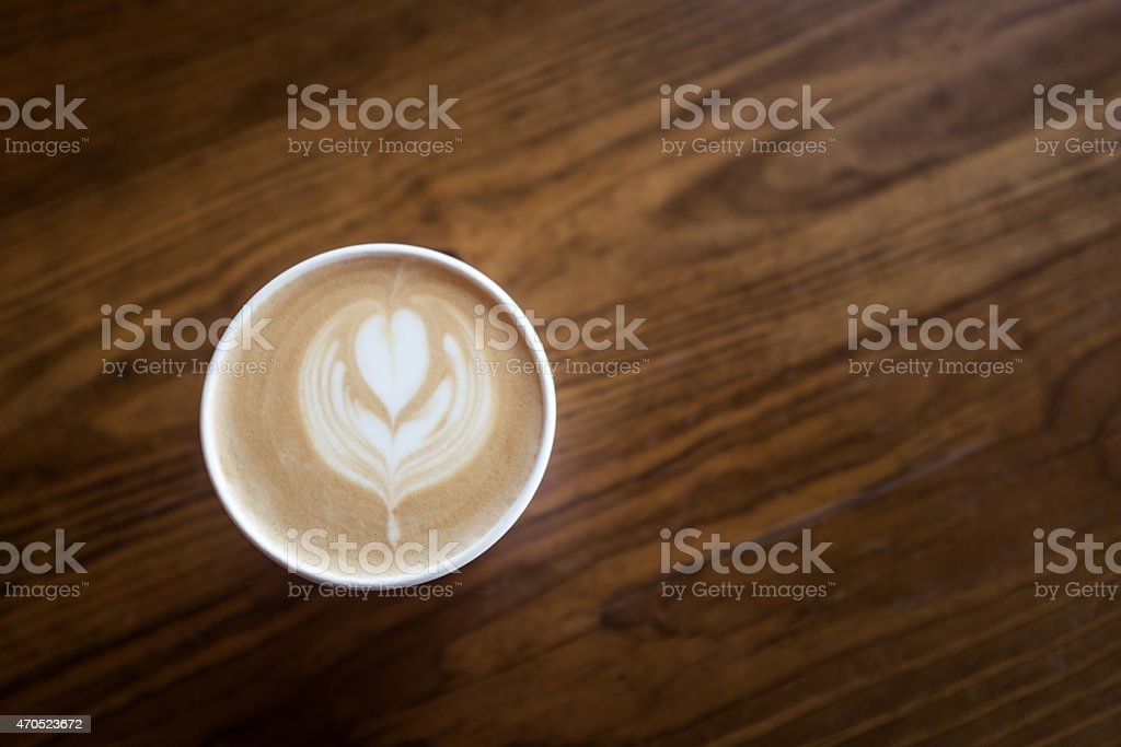 Latte in To Go Container stock photo