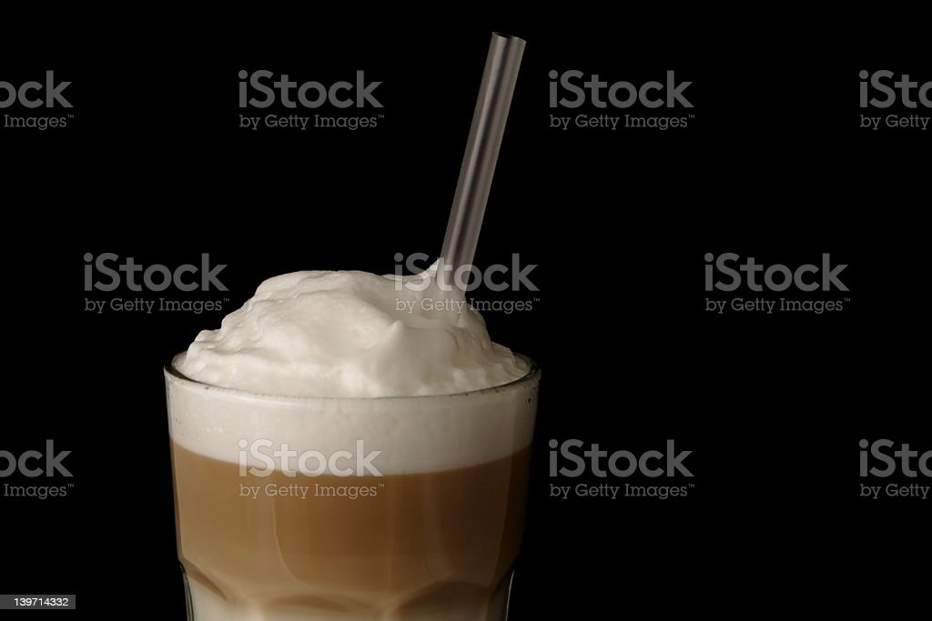 latte macchiato close up stock photo