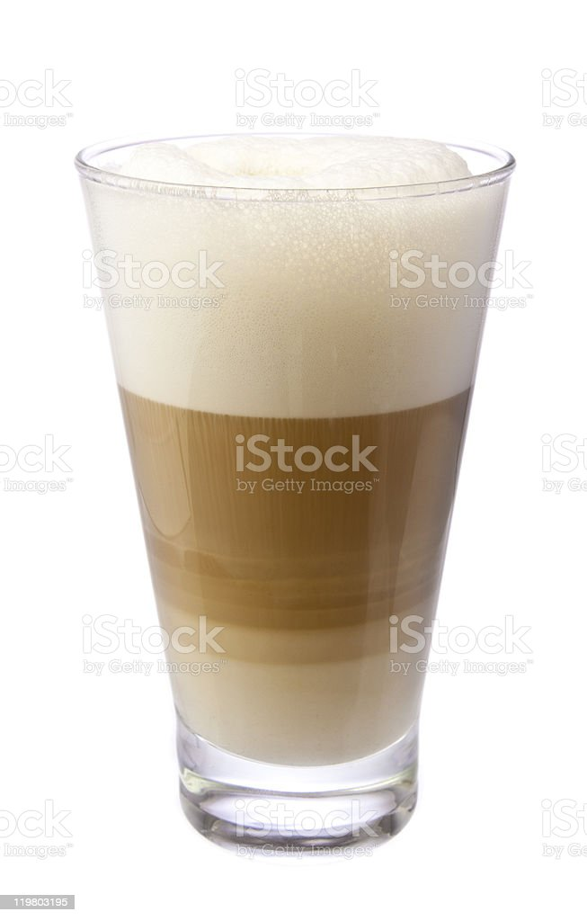 Latte Macchiato in a clear glass on a white background stock photo