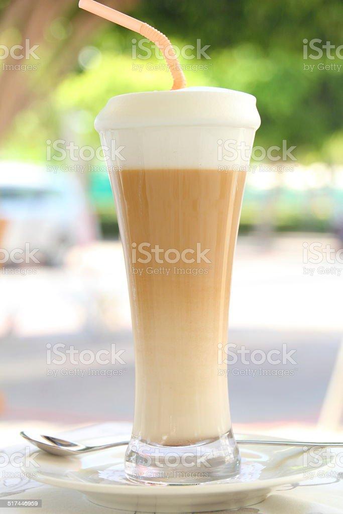 latte macchiato in a restaurant stock photo