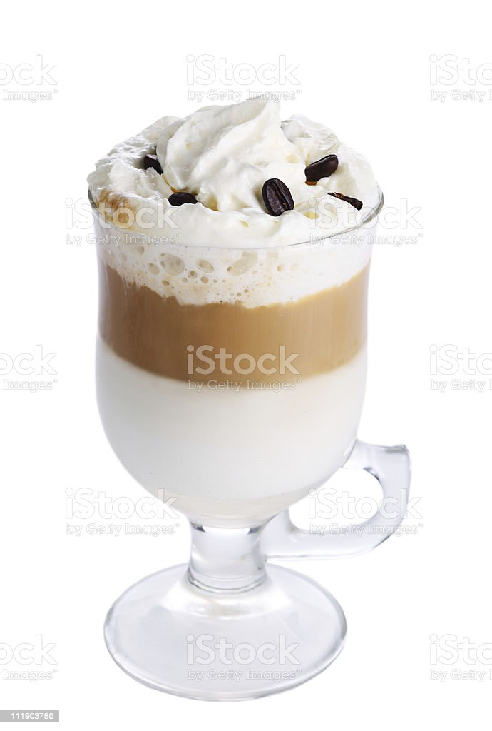 Latte macchiato with coffee beans on white isolated background stock photo
