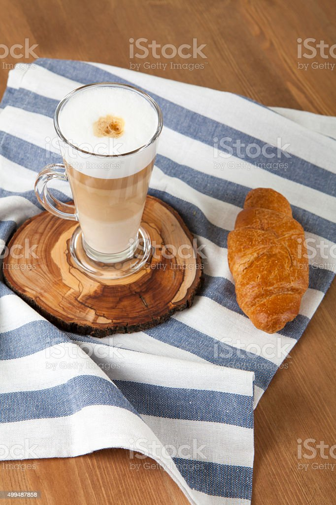 Latte Macchiato with Croissant stock photo