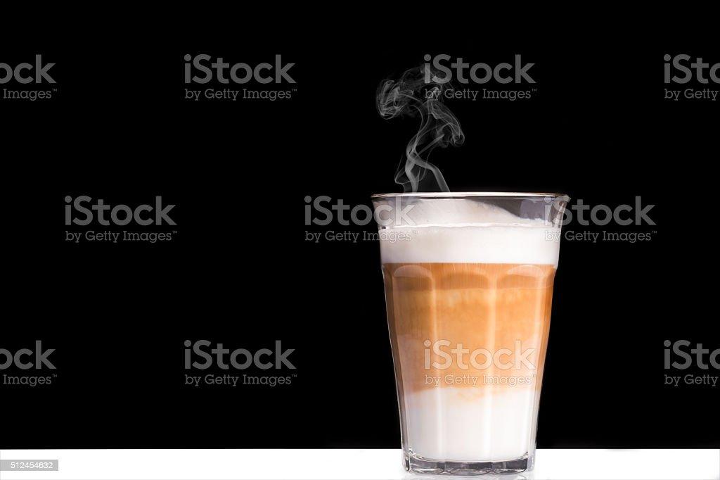 Latte Macchiato with smoke stock photo