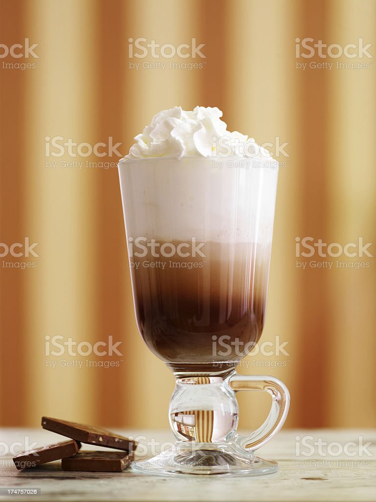 Latte Machiato With Whipped Cream stock photo