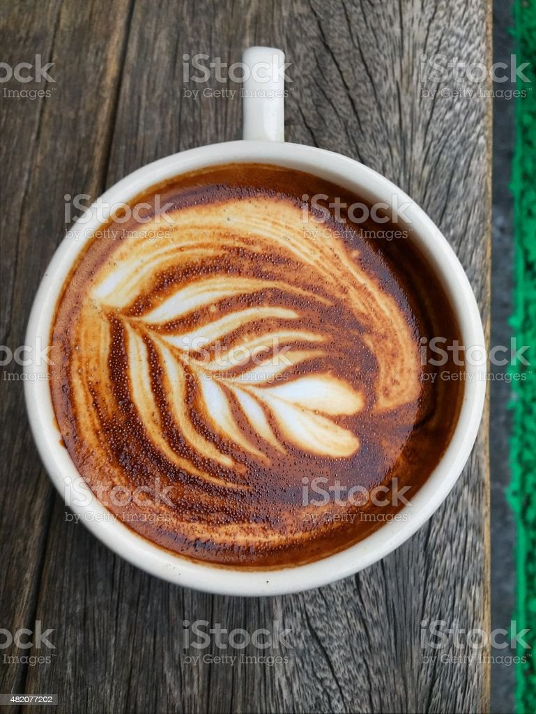 Latte on Bench stock photo