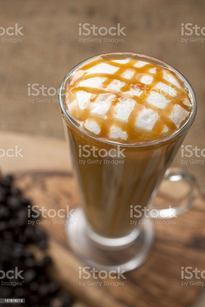 Latte with a Caramel lattice on top. royalty-free stock photo