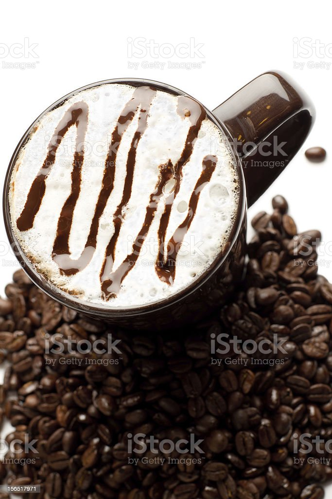 Latte with Espresso Beans royalty-free stock photo