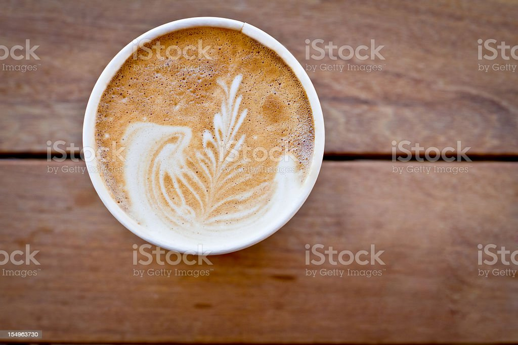 Latte with Wooden Background stock photo