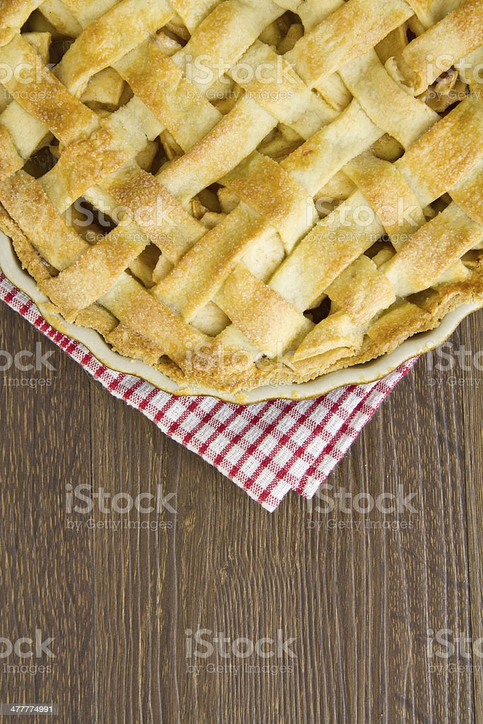 Lattice pastry apple pie top, cooked with copy space royalty-free stock photo