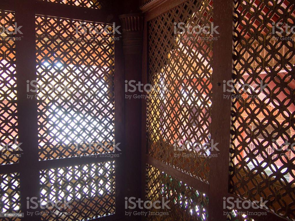 lattice, Royal Palace, Mandalay, Myanmar stock photo