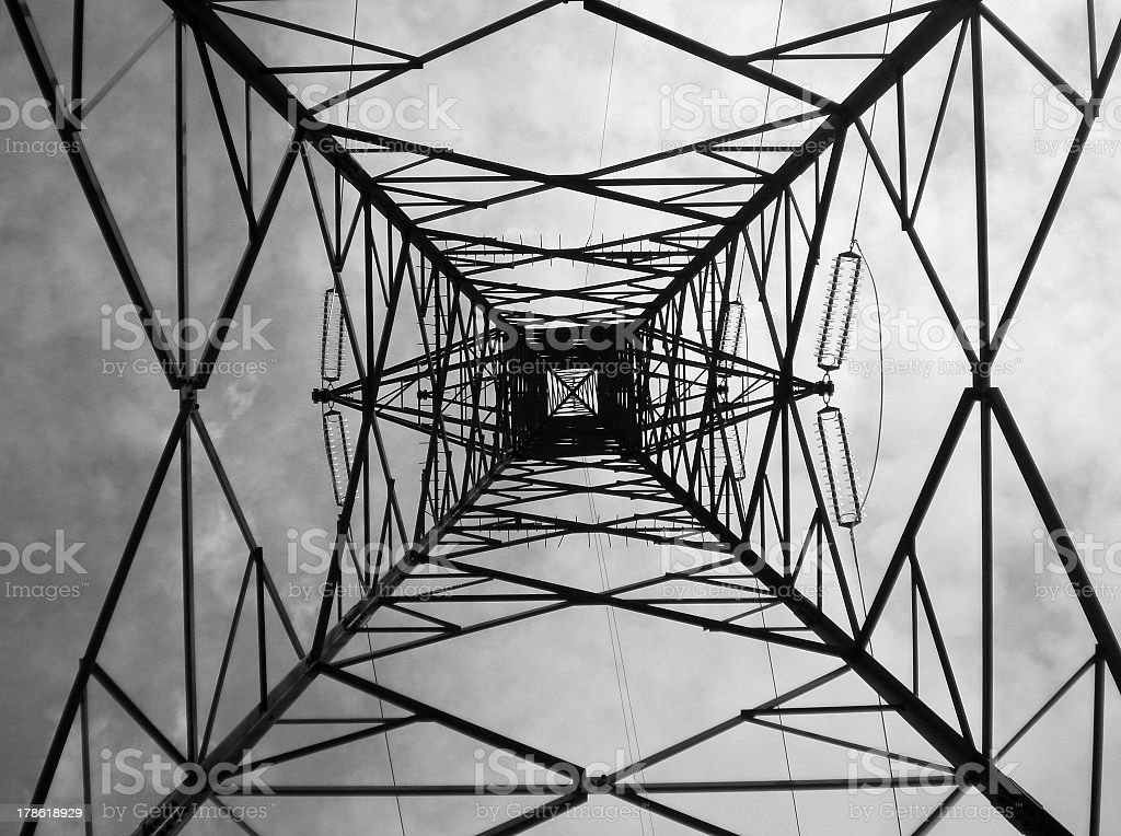 Lattice tower of power line stock photo