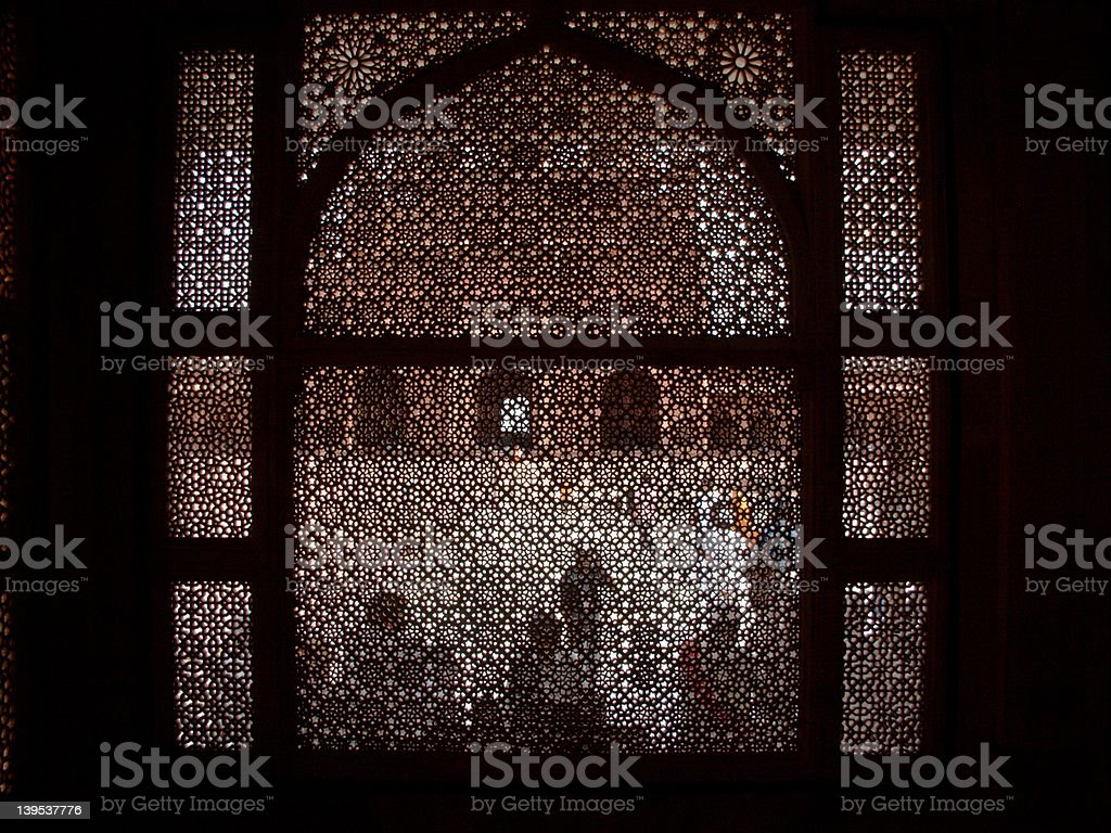 Lattice work at Dargah stock photo