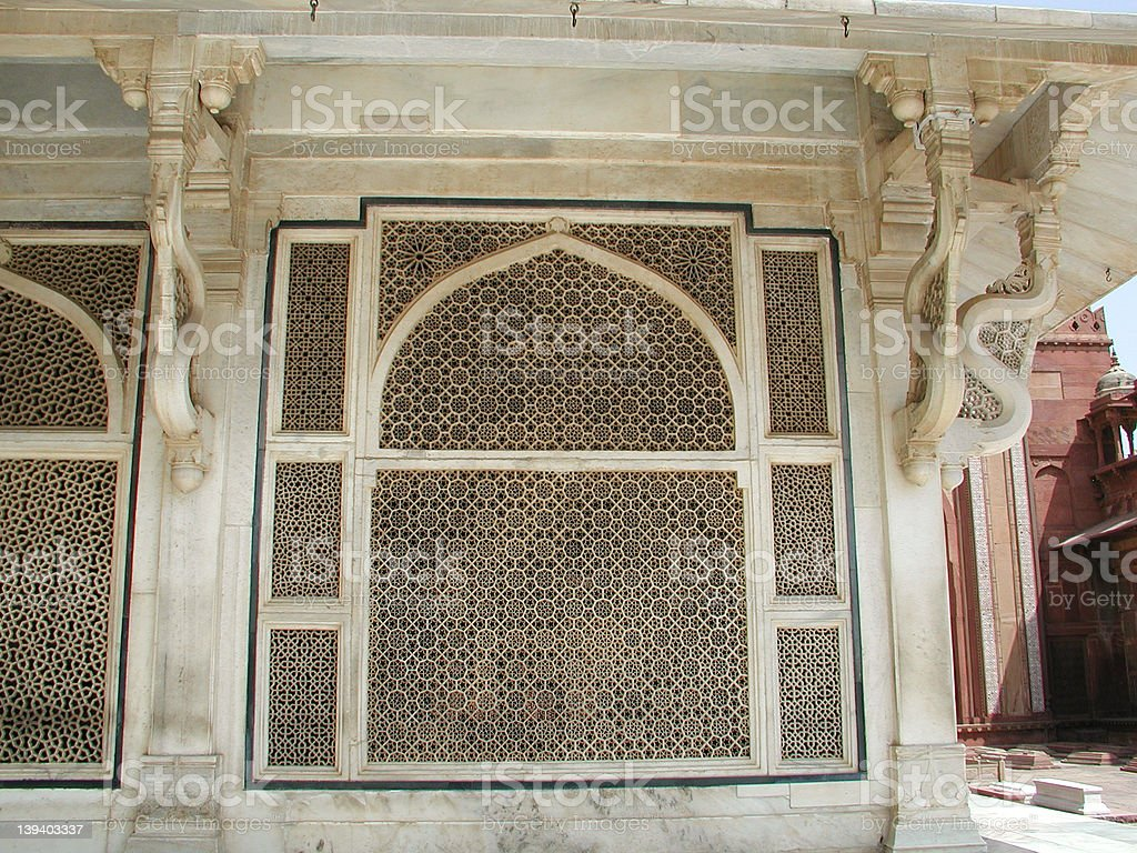 Lattice work at Salim Chisti's dargah stock photo