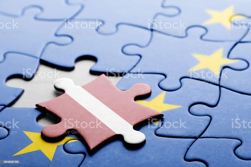Latvia. Exit from European Union concept puzzle stock photo