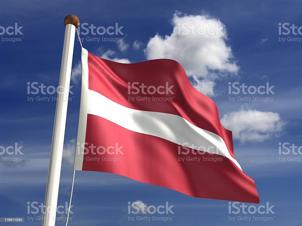 Latvia flag (with clipping path) stock photo