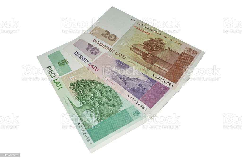 Latvian banknotes currency stock photo
