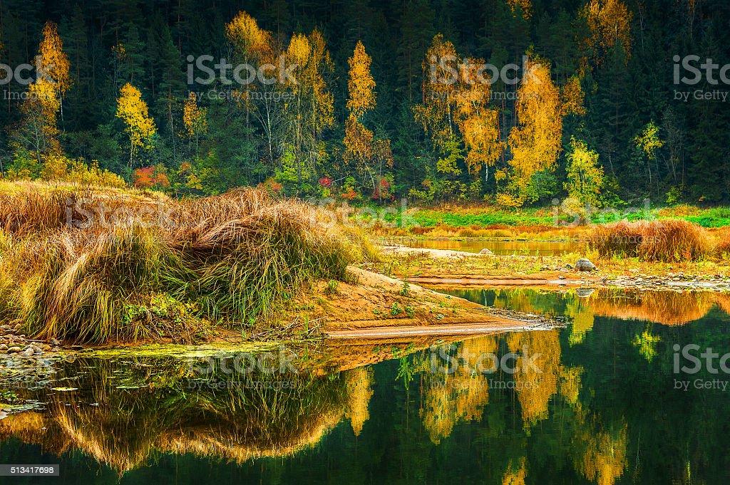 Latvian colorful autumn landscape stock photo