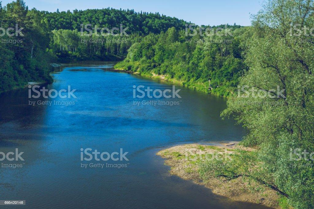 Latvian national park and river Gauja at city Sigulda. 2016 stock photo