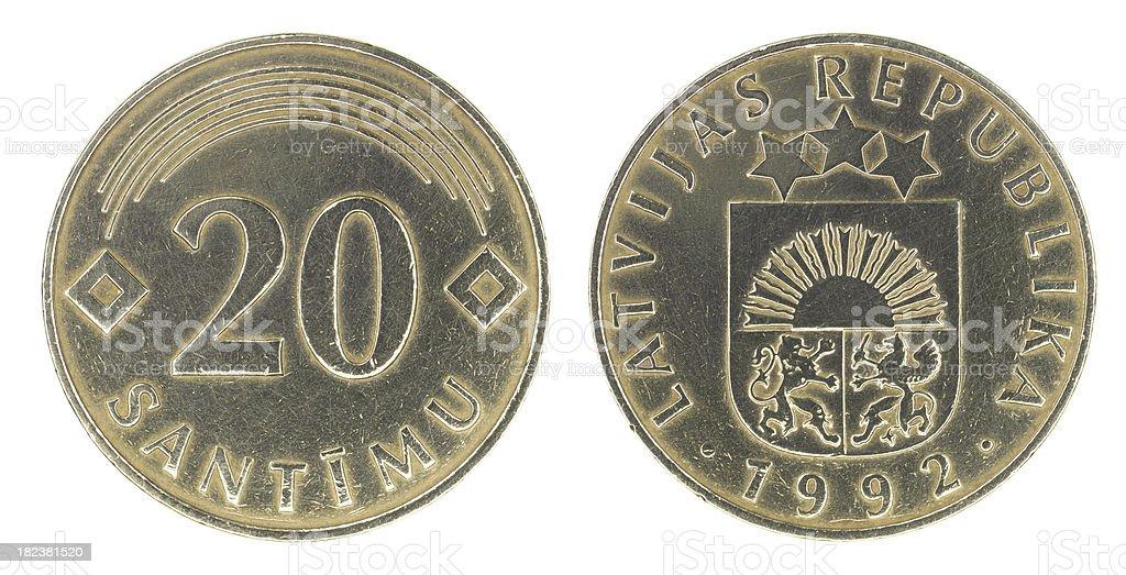 Latvian twenty centimes 1992 stock photo