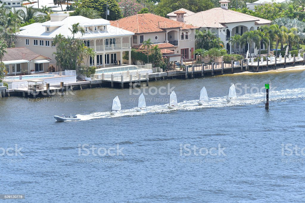 Lauderdale Inlet Dinghy Sailboats stock photo