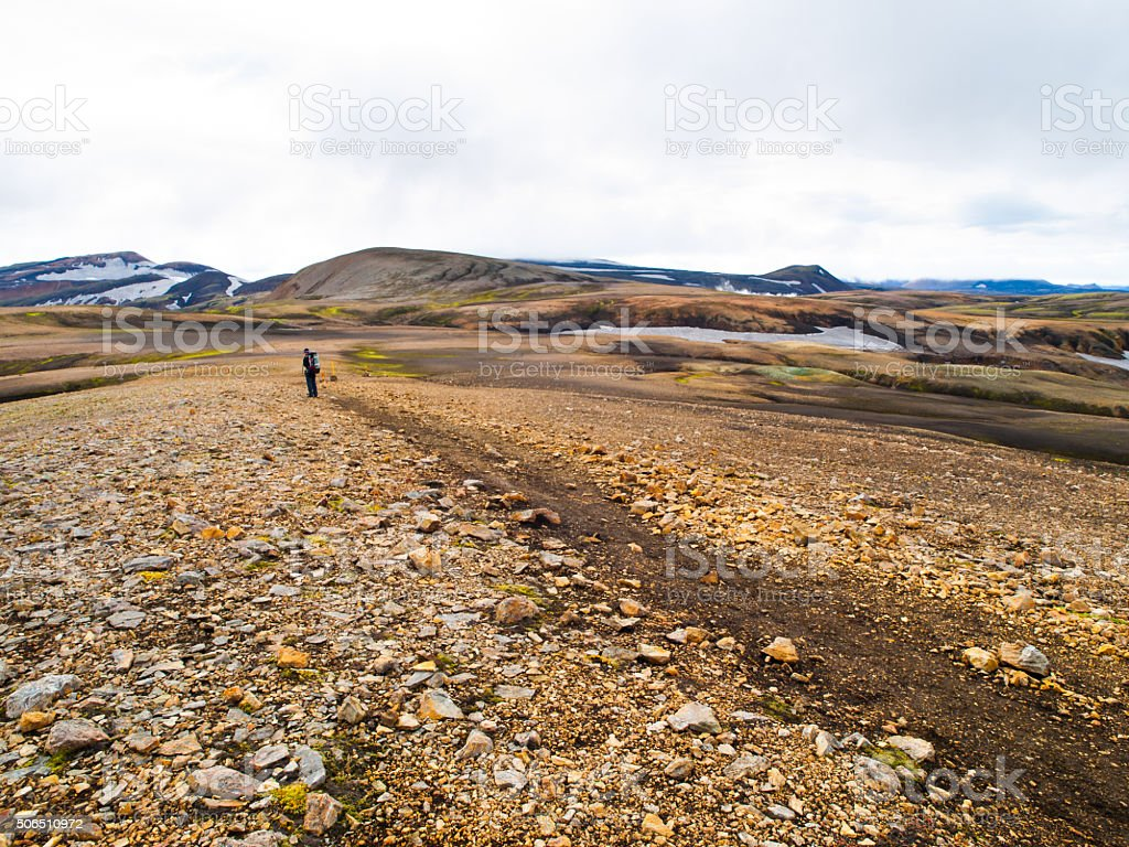 Laugavegur trail in Iceland stock photo