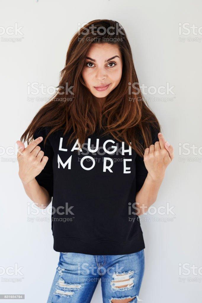 Laugh more advice stock photo