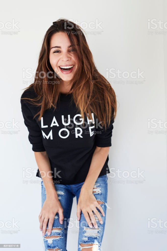 Laugh more lady stock photo