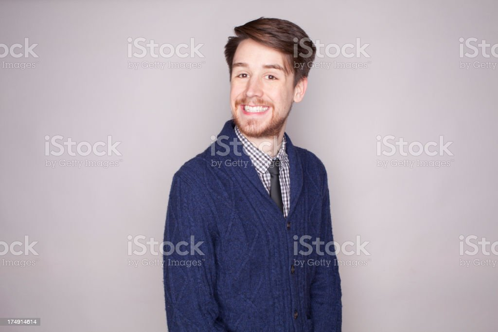 Laughing Adult on Gray royalty-free stock photo