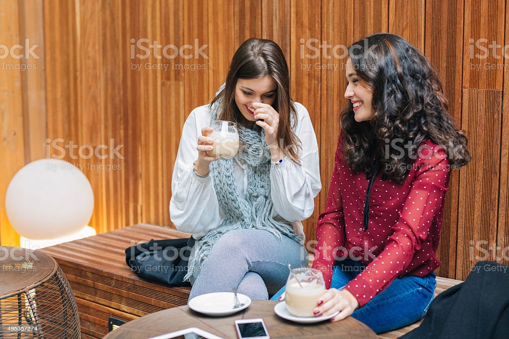 Laughing and coffee stock photo