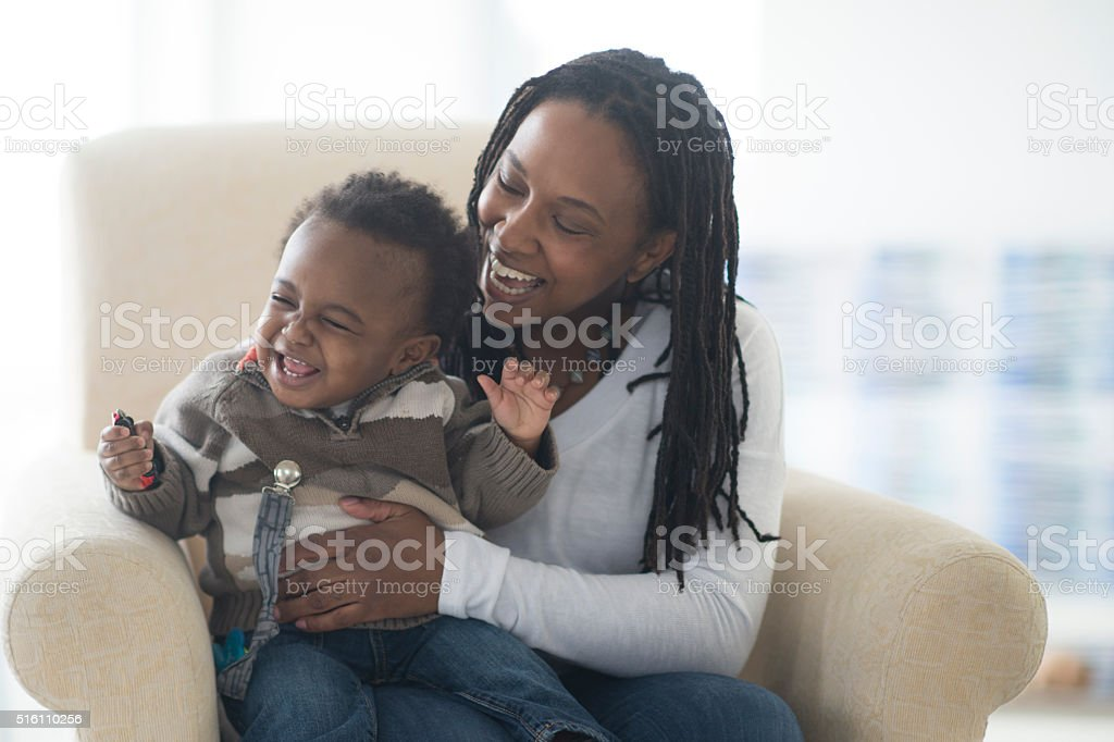 Laughing and Playing Together stock photo