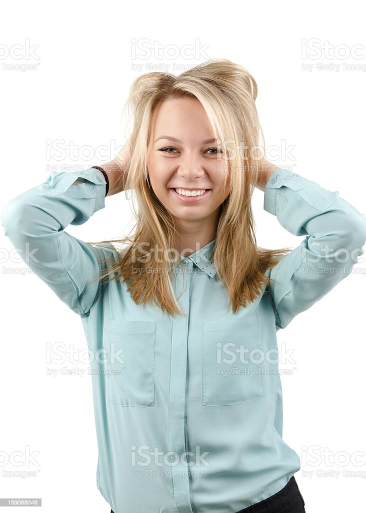 Laughing attractive blonde woman royalty-free stock photo