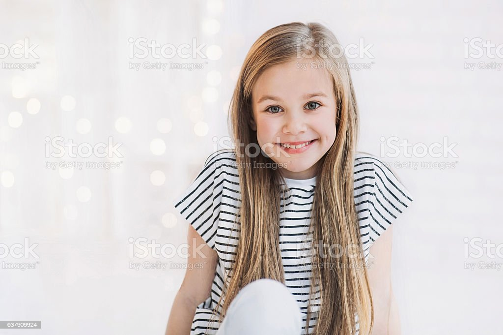Laughing beautiful girl portrait stock photo