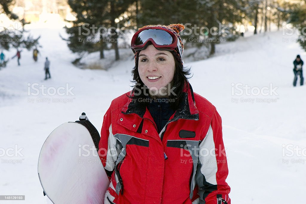 laughing beautiful girl snowborder royalty-free stock photo