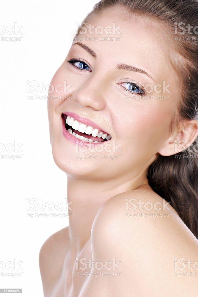 Laughing beautiful young woman stock photo