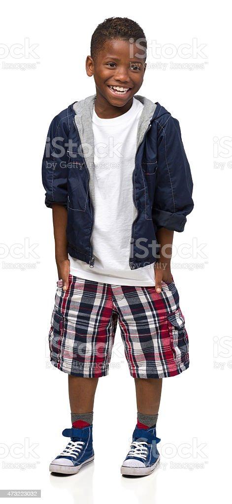 Laughing Boy, Full-Length Portrait stock photo