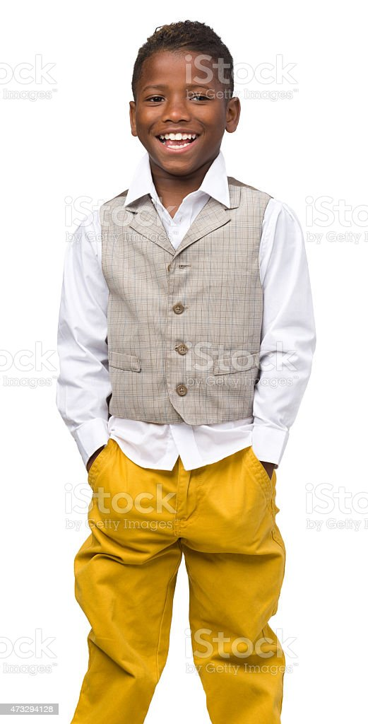 Laughing Boy, Isolated Portrait stock photo