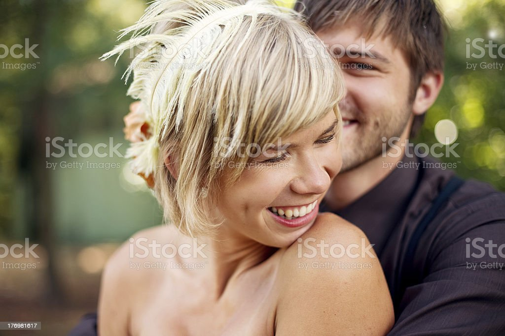 Laughing Bride and Groom royalty-free stock photo